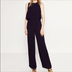 Zara Navy Jumpsuit cutout Back